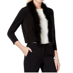 Calvin Klein Women's Real Feather Trim Cardigan